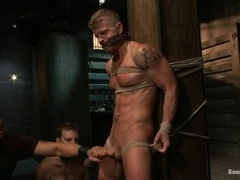 Sebastian Keys gets tied up, whipped and fucked in BDSM scene