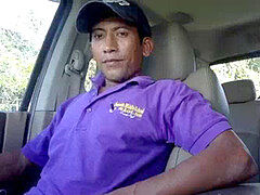 Hidden cam straight latino construction employee ejaculates stroking to porn in my truck (Martin 1)
