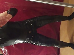 My new black leather pants together with a black shirt IV