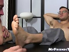 Classy office stud feet worshiped by wolf manager