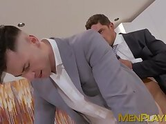 Handsome gays in suits kissing and anal fucking passionately