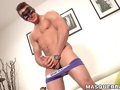 Young masked jock strips naked for middle aged perv