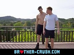 Hot brothers release sexual tension in their smooth ass