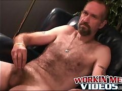 Horny mature carpenter Bryant making his cock cum hard