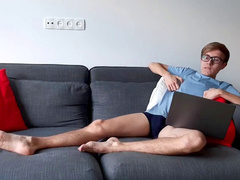 twunk dreamed to doing homework but accidentally spotted gay porn