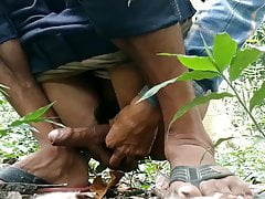 Desi village big cock masturbation and cumshot on tree.