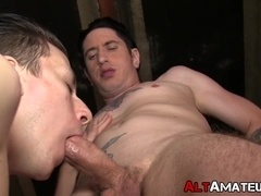 Punk rock gay receives a wet blowjob before deep anal