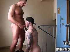 Hot gay oral sex with creampie